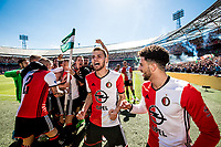 ROTTERDAM - Feyenoord - Heracles , Voetbal , Seizoen 2016/2017 , Eredivisie , Stadion Feyenoord - De Kuip , 14-05-2017 , Kampioenswedstrijd , eindstand 3-1 , Feyenoord speler Bart Nieuwkoop viert met zijn medespelers de 3e goal van Feyenoord speler Dirk Kuyt , samen met Bilal Basacikoglu (r)