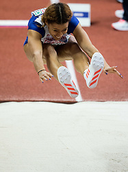 Jazmin Sawyers of Great Britain competes in the Long Jump Women Qualification on day two of the 2017 European Athletics Indoor Championships at the Kombank Arena on March 4, 2017 in Belgrade, Serbia. Photo by Vid Ponikvar / Sportida