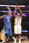 Sunday March 23, 2041; Jordan Hill #27 of the Lakers during the game. The Los Angeles Lakers defeated the Orlando Magic by the final score of 103-94 at Staples Center in downtow Los Angeles CA.