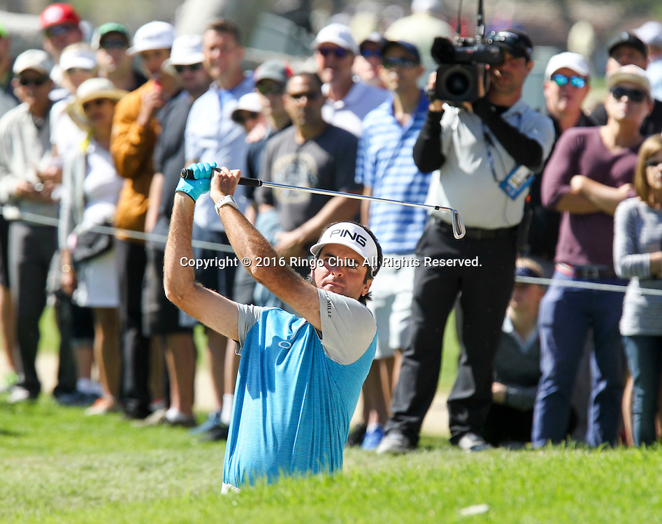 Bubba Watson looks at his shot on the final round of the PGA Tour Northern Trust Open golf tournament at Riviera Country Club on February 21, 2016, in Los Angeles. Bubba Watson won the Northern Trust Open.(Photo by Ringo Chiu/PHOTOFORMULA.com)<br /> <br /> Usage Notes: This content is intended for editorial use only. For other uses, additional clearances may be required.