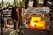 Piece of metal heating up in a propane oven