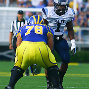 University of Maine linebacker Donte Dennis (1) lines up in front of Delaware Offensive Tackle Erle Ladson (78) in second quarter of a Week 6 NCAA football game against Delaware.