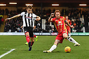 Grimsby Town midfielder Jake Hessenthaler(7) and MK Dons defender Dean Lewington (3) during the EFL Sky Bet League 2 match between Grimsby Town FC and Milton Keynes Dons at Blundell Park, Grimsby, United Kingdom on 26 January 2019.