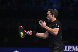 November 17, 2017 - London, England, United Kingdom - Bruno Soares of Brazil in action in the Doubles match against Lukasz Kubot of Poland and Marcelo Melo of Brazil during day six of the Nitto ATP World Tour Finals at O2 Arena on November 17, 2017 in London, England. (Credit Image: © Alberto Pezzali/NurPhoto via ZUMA Press)