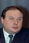 Russia's Choice party leader, and former First Deputy Prime Minister Yegor Gaidar, during a press conference following legislative election results December 13, 1993 in Moscow, Russia. Gaidar expressed concern about the ultranationalistic Liberal Democratic strong showing which surprised many Russians and called for the unity with democratic reformers.