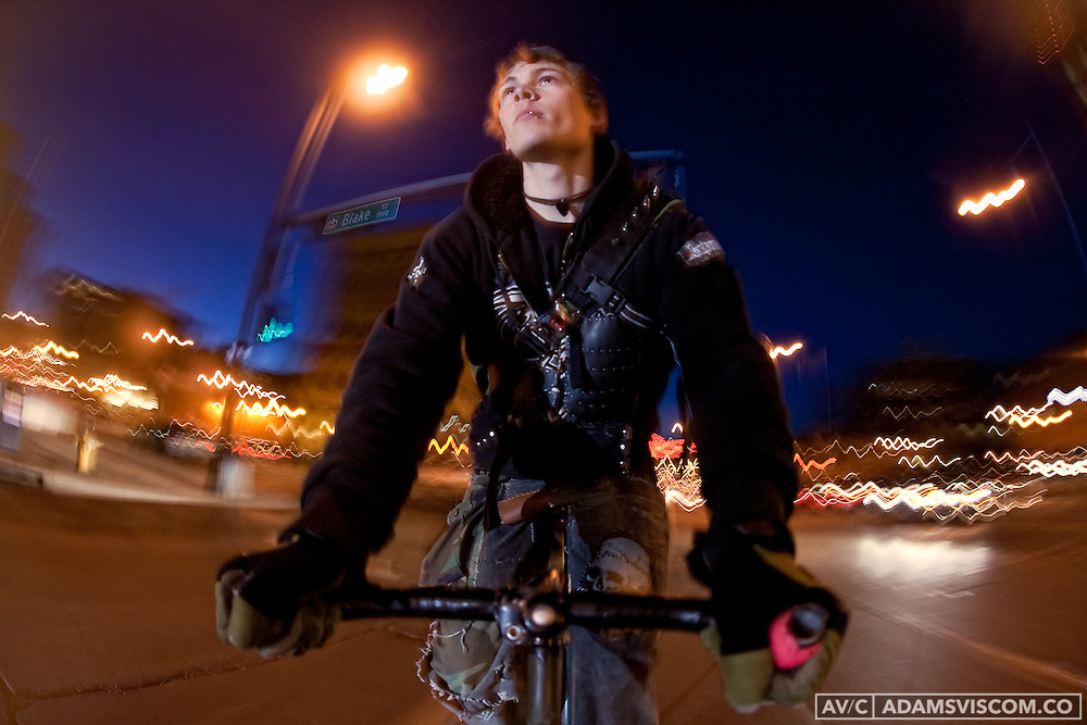 Fixed gear rider Daina Banks photographed in downtown Denver, CO on Friday, Feb. 26, 2010.