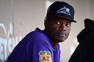 SCOTTSDALE, AZ - FEBRUARY 25:  Raimel Tapia #68 of the Colorado Rockies sits in the dugout during the spring training game against the Arizona Diamondbacks at Salt River Fields at Talking Stick on February 25, 2017 in Scottsdale, Arizona.  (Photo by Jennifer Stewart/Getty Images)