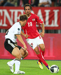 03.06.2011, Ernst Happel Stadion, Wien, AUT, UEFA EURO 2012, Qualifikation, Oesterreich (AUT) vs Deutschland (GER), im Bild Zweikampf zwischen Martin Harnik, (AUT, #19) und Philipp Lahm, (GER, #16)  // during the UEFA Euro 2012 Qualifier Game, Austria vs Germany, at Ernst Happel Stadium, Vienna, 2010-06-03, EXPA Pictures © 2011, PhotoCredit: EXPA/ T. Haumer