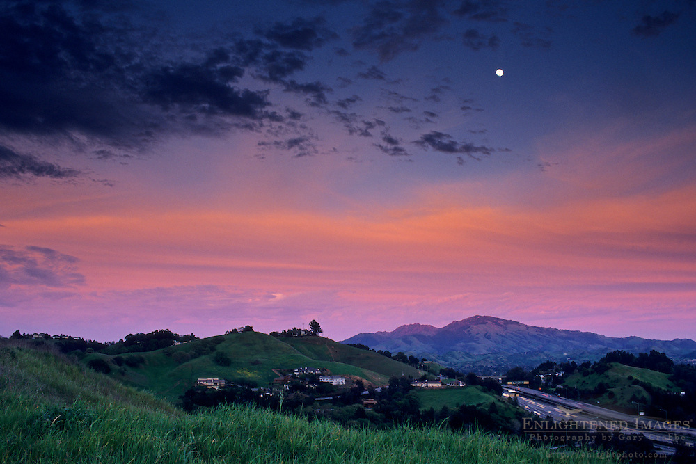 Moon and Clouds at sunset over Mt. Diablo and freeway, Lafayette, Contra Costa County, California