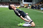 Brentford forward Sergi Canos (47) scores a goal and celebrates (1-0) during the EFL Sky Bet Championship match between Burton Albion and Brentford at the Pirelli Stadium, Burton upon Trent, England on 18 March 2017. Photo by Richard Holmes.
