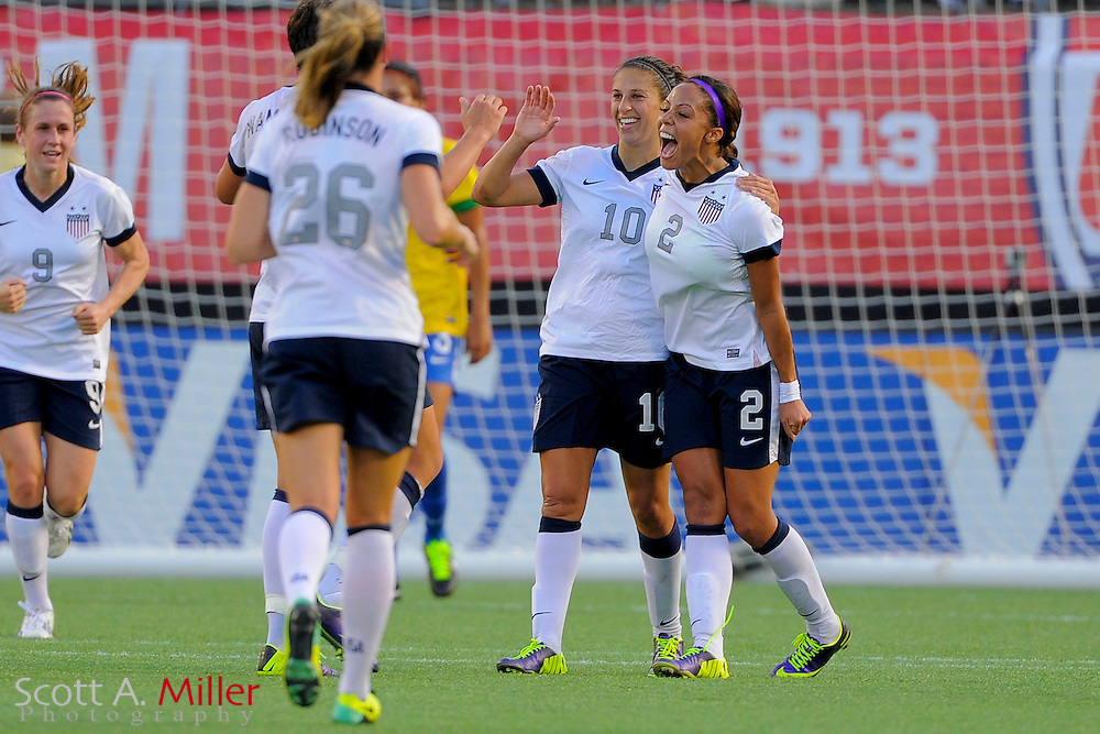 U.S. forward Sydney Leroux (2) celebrates scoring her second goal during an international friendly against Brazil at the Florida Citrus Bowl on November 10, 2013  in Orlando, Florida.      ©2013 Scott A. Miller