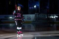 KELOWNA, BC - SEPTEMBER 21:  Cayde Augustine #5 of the Kelowna Rockets enters the ice for home opener against the Spokane Chiefs at Prospera Place on September 21, 2019 in Kelowna, Canada. (Photo by Marissa Baecker/Shoot the Breeze)