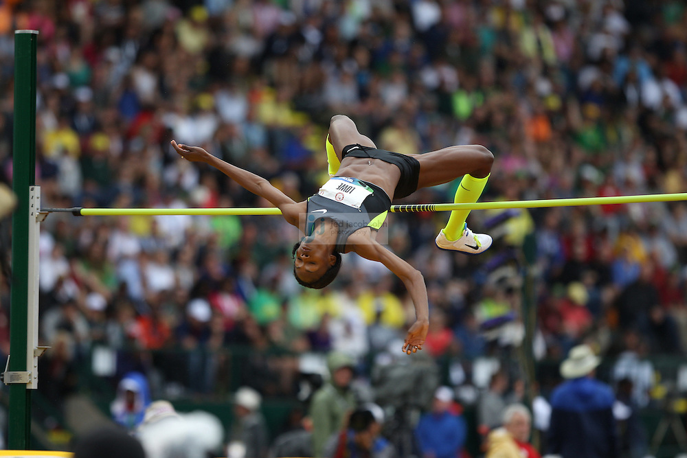 Chaunte Lowe competes in the finals for the high jump during day 9 of the U.S. Olympic Trials for Track & Field at Hayward Field in Eugene, Oregon, USA 30 Jun 2012..(Jed Jacobsohn/for The New York Times)....
