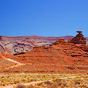 The aptly named Mexican-Hat Rock in the southeastern Utah desert