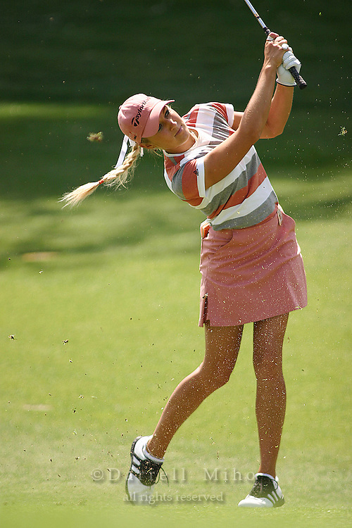 March 25, 2004; Rancho Mirage, CA, USA;  Natalie Gulbis hits an approach shot during the first round of the LPGA Kraft Nabisco golf tournament held at Mission Hills Country Club.  <br />