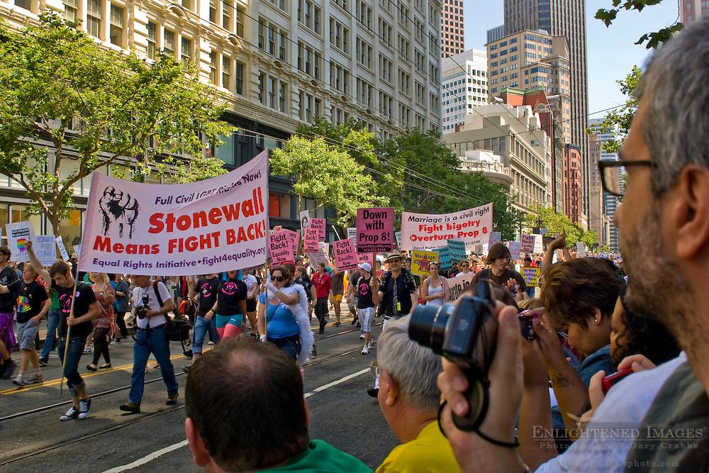 San Francisco Gay Pride Parade through downtown along Market Street; San Francisco; California