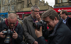 Pictured: While the press were interesed in images one supporter was more interested in a free cake.<br /> <br /> Scottish Labour's Ian Murray and Scottish Labour leader Kezia Dugdale hit the general election campaign trail in Edinburgh today for the first campaign event of Mr Murray's re-election campaign for the Edinburgh South constituency.<br /> Ger Harley | EEm 21 April 2017