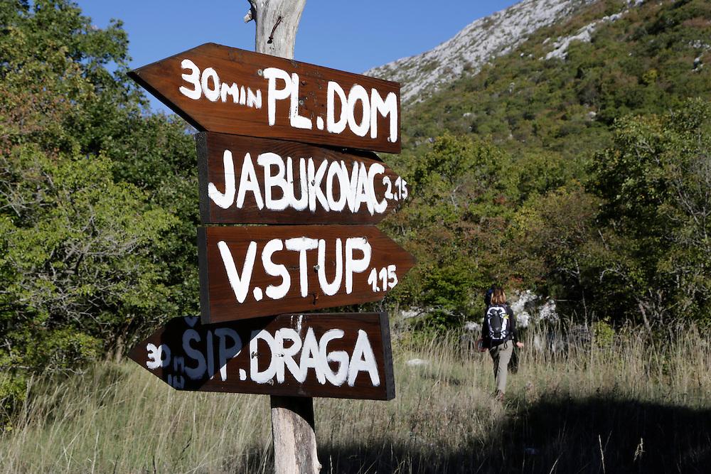 Trail signs on Mosor mountain, Croatia.