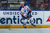 PENTICTON, CANADA - SEPTEMBER 9: Ethan Bear #74 of Edmonton Oilers passes the puck against the Winnipeg Jets on September 9, 2017 at the South Okanagan Event Centre in Penticton, British Columbia, Canada.  (Photo by Marissa Baecker/Shoot the Breeze)  *** Local Caption ***