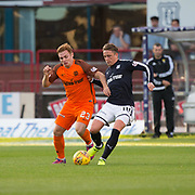 August 9th 2017, Dens Park, Dundee, Scotland; Scottish League Cup Second Round; Dundee versus Dundee United; Dundee's Scott Allan and Dundee United?s Fraser Fyvie