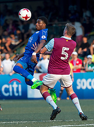 May 28, 2017 - Hong Kong, Hong Kong SAR, China - Josh Eppiah (L) heads the ball away from Aston Villas player.Leicester City win their second HKFC Citi Soccer Sevens title following a 3-0 victory over defending champions Aston Villa in the final.2017 Hong Kong Soccer Sevens at the Hong Kong Football Club Causeway Bay. (Credit Image: © Jayne Russell via ZUMA Wire)