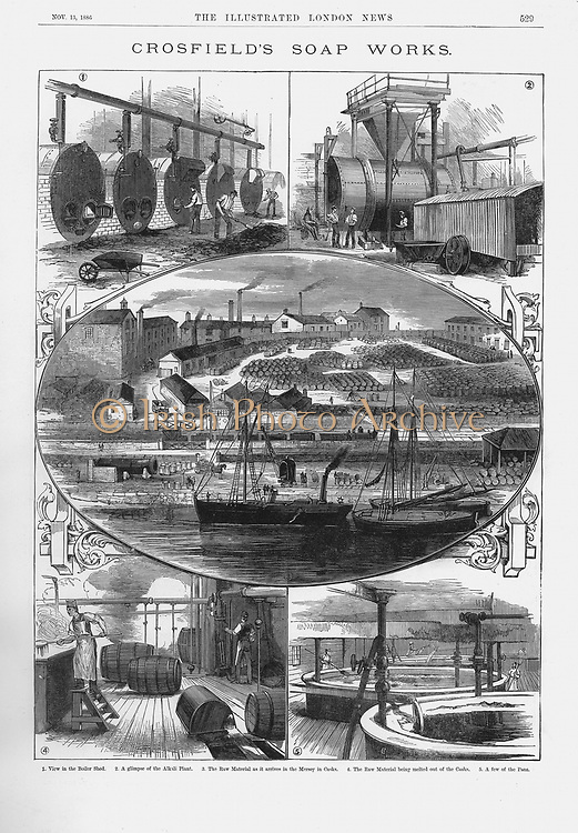 Joseph Crosfield & Son's soap factory at Bank Quarry, Warrington. 1: Boiler shed  2: Alkali plant  3: Raw material being brought by boat along the Mersey  4: Melting contents of casks  5: Boiling pans. Wood engraving 1886
