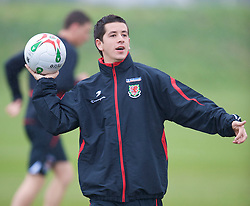 SWANSEA, WALES - Monday, March 30, 2009: Wales' Under-21 Lloyd James training at the Glamorgan Health & Racquets Club ahead of the UEFA Under-21 Championship Qualifying group 3 match. (Photo by David Rawcliffe/Propaganda)
