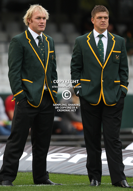 DURBAN, SOUTH AFRICA - AUGUST 13, Schalk Burger with Juan Smith during the Castle Lager Tri Nations match between South Africa and Australia at Mr Price Kings Park Stadium on August 13, 2011 in Durban, South Africa<br /> Photo by Steve Haag / Gallo Images