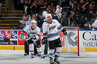 KELOWNA, CANADA - APRIL 23: Rourke Chartier #14 of Kelowna Rockets celebrates a second period goal against the Seattle Thunderbirds on April 23, 2016 at Prospera Place in Kelowna, British Columbia, Canada.  (Photo by Marissa Baecker/Shoot the Breeze)  *** Local Caption *** Rourke Chartier;
