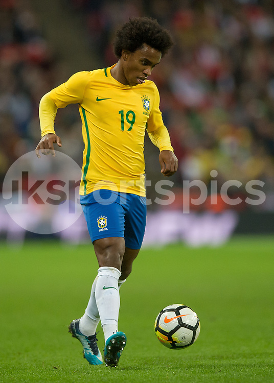 Willian of Brazil in action during the International Friendly match between England and Brazil at Wembley Stadium, London, England on 14 November 2017. Photo by Vince Mignott.