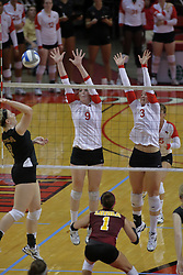 31 Aug 2010: Katie Culbertson and Tabitha Visk look for a combined block. The Illinois State Redbirds trumped the Rambles of Loyola-Chicago 3 sets to none at Redbird Arena on the campus of Illinois State University in Normal Illinois.