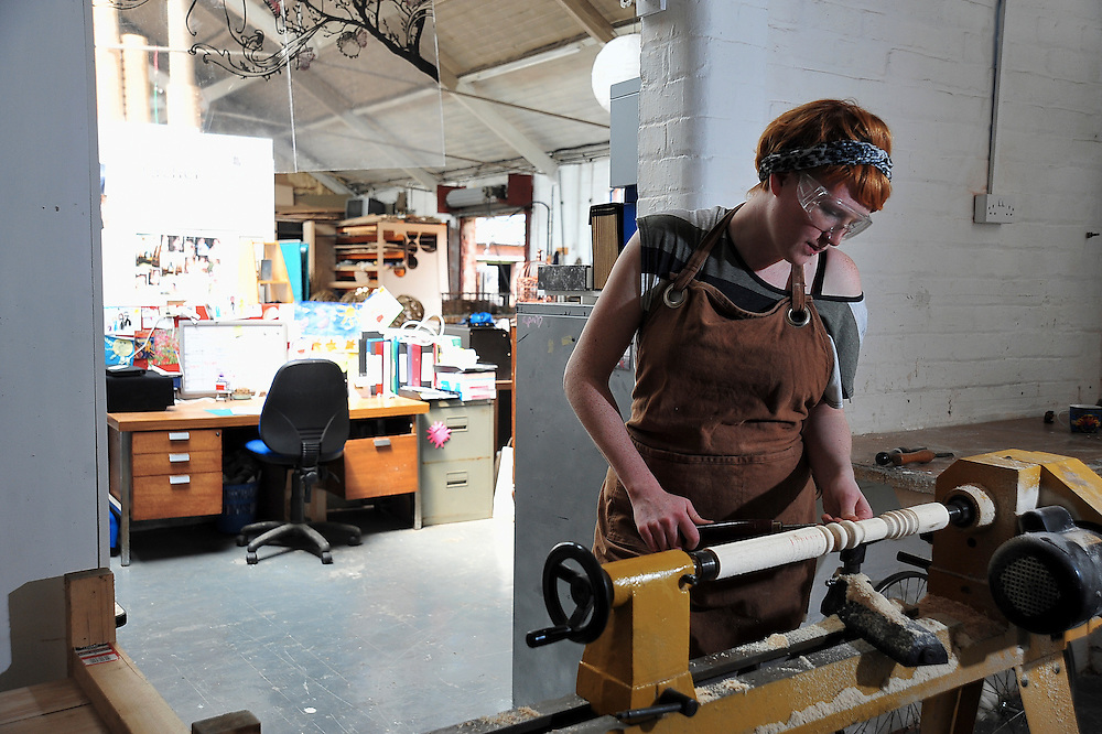 Pictured working inside her studio in Ilkeston is sculptor and installation artist Georgie Park.