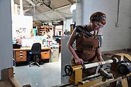 Pictured working inside her studio in Ilkeston is sculptor and installation artist Georgie Park.