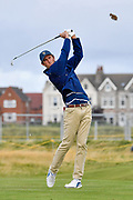 Stewart Hagestad (USA) plays from the second tee during the Saturday morning Foursomes in the Walker Cup at the Royal Liverpool Golf Club, Saturday, Sept 7, 2019, in Hoylake, United Kingdom. (Steve Flynn/Image of Sport)