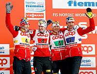 Kombinert<br /> VM 2013<br /> Predazzo / Val di Fiemme Italia<br /> 24.02.2013<br /> Foto: Gepa/Digitalsport<br /> NORWAY ONLY<br /> <br /> FIS Nordische Ski Weltmeisterschaften 2013 in Val di Fiemme, Teambewerb, 4x5km, Siegerehrung, Flower Ceremony. Bild zeigt Magnus Krog, Jørgen Graabak, Håvard Klemetsen und Magnus Moan (NOR).