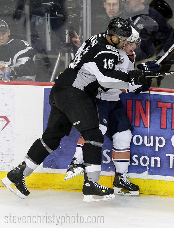 January 19, 2013: The Oklahoma City Barons play the San Antonio Rampage in an American Hockey League game at the Cox Convention Center in Oklahoma City.