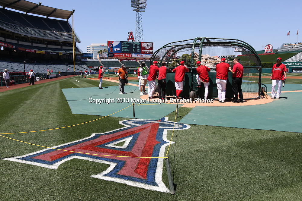 ANAHEIM, CA - JUNE 15:  General view as the Los Angeles Angels of Anaheim take batting practice before the game against the New York Yankees on Saturday, June 15, 2013 at Angel Stadium in Anaheim, California. The Angels won the game 6-2. (Photo by Paul Spinelli/MLB Photos via Getty Images)