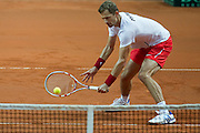 Mariusz Fyrstenberg of Poland in action while men's double during the BNP Paribas Davis Cup 2013 between Poland and Australia at Torwar Hall in Warsaw on September 14, 2013.<br /> <br /> Poland, Warsaw, September 14, 2013<br /> <br /> Picture also available in RAW (NEF) or TIFF format on special request.<br /> <br /> For editorial use only. Any commercial or promotional use requires permission.<br /> <br /> Photo by &copy; Adam Nurkiewicz / Mediasport
