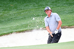 May 3, 2019 - Charlotte, NC, U.S. - CHARLOTTE, NC - MAY 03: Jason Dufner plays a shot from a bunker on the 15th hole as he leads round two of the Wells Fargo Championship on May 03, 2019 at Quail Hollow Club in Charlotte,NC. (Photo by Dannie Walls/Icon Sportswire) (Credit Image: © Dannie Walls/Icon SMI via ZUMA Press)