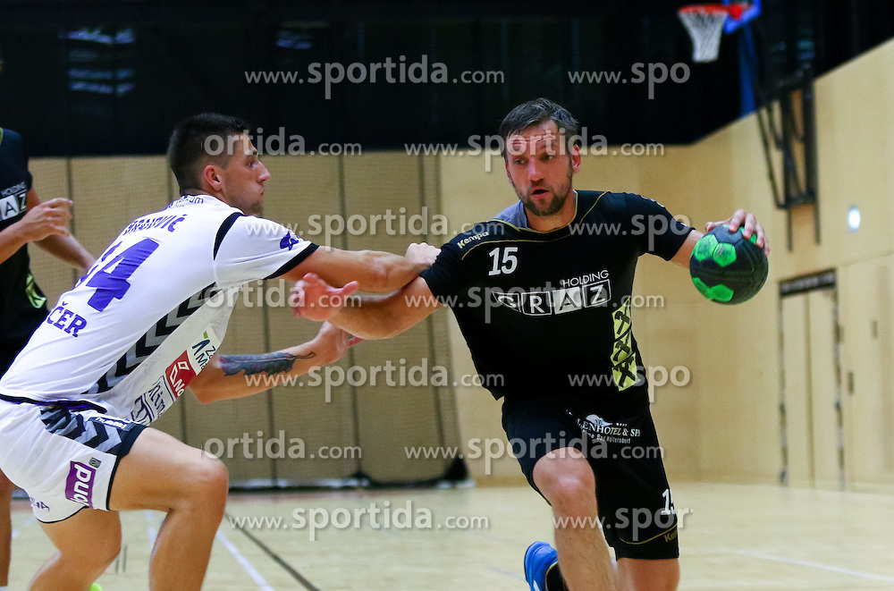 13.08.2015, ASKÖ Halle, Graz, AUT, Testspiel, HSG Holding Graz vs RK Branik Maribor, im Bild Maximilian Maier (HSG Holding Graz)// during a friendly Match between HSG Holding Graz and RK Branik Maribor at the ASKÖ Halle, Graz, Austria on 2015/08/13, EXPA Pictures © 2015, PhotoCredit: EXPA/ Sebastian Pucher