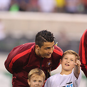 Cristiano Ronaldo, Portugal, talks with youngsters before  the Portugal V Ireland International Friendly match in preparation for the 2014 FIFA World Cup in Brazil. MetLife Stadium, Rutherford, New Jersey, USA. 10th June 2014. Photo Tim Clayton