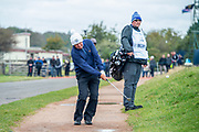 Gerry McIlroy, father of Rory McIlroy, plays his shot from the path next to the green on the 16th green during the final round of the Alfred Dunhill Links Championship European Tour at St Andrews, West Sands, Scotland on 29 September 2019.