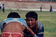 Mongolia. Ulaanbaatar. Mongolian wrestling in dalanzadgad, Gobi desert