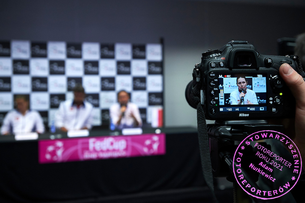 Klaudia Jans Ignacik from Poland while press conference during Second Day of the Fed Cup / World Group 1st round tennis match between Poland and Russia at Tauron Krakow Arena on February 8, 2015 in Cracow, Poland.<br /> <br /> Poland, Cracow, February 8, 2015<br /> <br /> Picture also available in RAW (NEF) or TIFF format on special request.<br /> <br /> For editorial use only. Any commercial or promotional use requires permission.<br /> <br /> Adam Nurkiewicz declares that he has no rights to the image of people at the photographs of his authorship.<br /> <br /> Mandatory credit:<br /> Photo by &copy; Adam Nurkiewicz / Mediasport