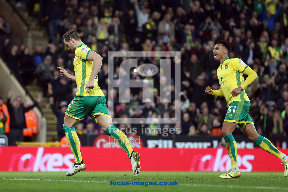 Steven Whittaker of Norwich celebrates scoring his sides equalising goal from the penalty spot during the third round of the FA Cup at Carrow Road, Norwich<br /> Picture by Paul Chesterton/Focus Images Ltd +44 7904 640267<br /> 07/01/2017