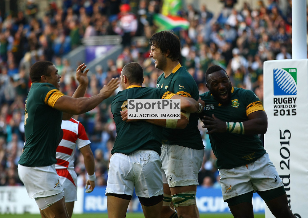 team mates congratulate South Africas Lodewyk De Jager after his try. Rugby World Cup group game from Pool B between South Africa and Japan. at Brighton Community Stadium. (c) Matt Bristow | SportPix.org.uk