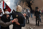 An Egyptian protester wounded in clashes with security forces is taken to a field hospital during demonstrations November 22, 2011 near Tahrir square in central Cairo, Egypt. Thousands of protestors demanding the military cede power to a civilian government authority clashed with Egyptian security forces for a fourth straight day in Cairo, with hundreds injured and at least 29 protestors killed so far.  (Photo by Scott Nelson)