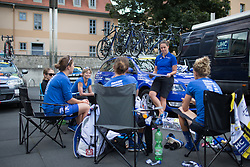 Final race chat for UnitedHealthcare Cycling Team before the start of Stage 3 of the Lotto Thuringen Ladies Tour - a 124 km road race, starting and finishing in Weimar on July 15, 2017, in Thuringen, Germany. (Photo by Balint Hamvas/Velofocus.com)