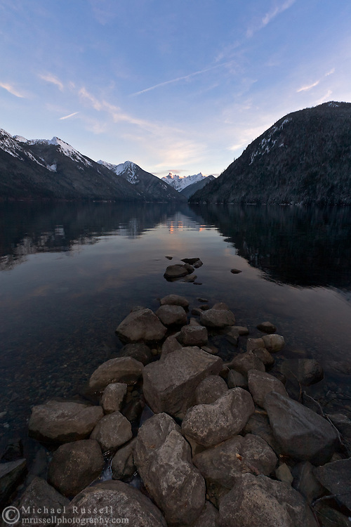 Mount Redoubt is mirrored in Chilliwack Lake at sunset - Chilliwack Lake Provincial Park.