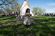 Henry Real Bird, granddaughter Emma, at daughter Lucy graduation celebration, alongside Little Bighorn River, Medicine Tail Coulee, site of Battle of the Little Bighorn, Crow Indian Reservation, Montana